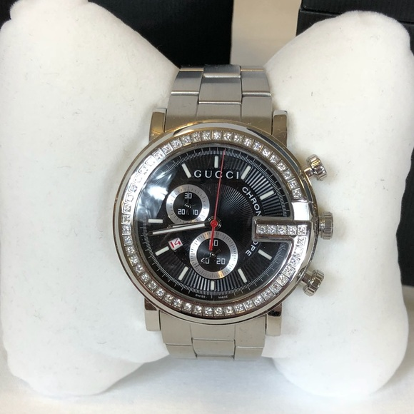 bc30536b75c Gucci G-Chrono stainless steel watch with diamonds